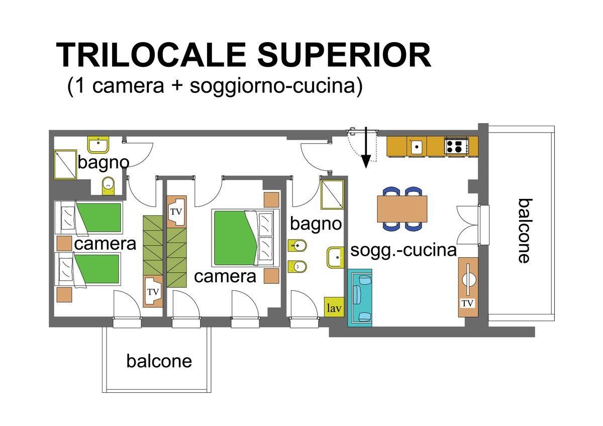 Three Rooms Superior 4 To 6 Beds (70mq + Balcony)